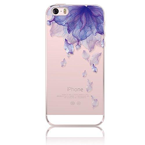 iPhone 5 Funda, Sunroyal ®TPU Ultra Transparente Carcasa Funda Suave Flexible Bumper Parachoques Silicona Extremadamente Delgada [Anti-Scratch] Resistente a los Arañazos Protectora Caja del Teléfono p B-09