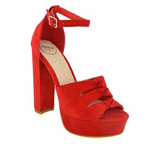 ESSEX GLAM Gamuza Sintética Sandalias de punta abierta y plataforma con tacón alto y tira al tobillo Rojo Gamuza Sintética