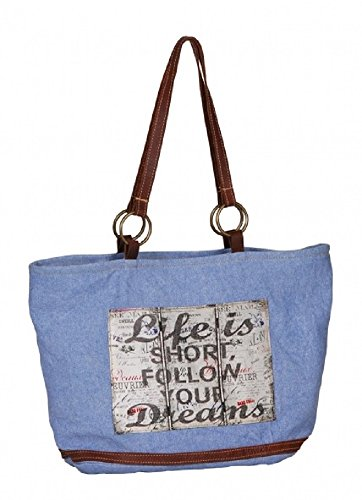 Delave Blue Canvas Shoulder Bag With Text Life