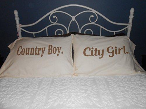 """""""Country Boy"""" &""""City Girl"""" Couple Pillowcases, Bedroom Decor"""