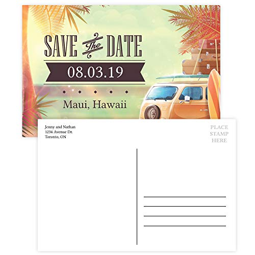 (Custom - Beach Party Save The Date Invitation Postcard - Set of 25, Personalized Party Invitation, Hawaiian Party, Vintage Beach Theme)