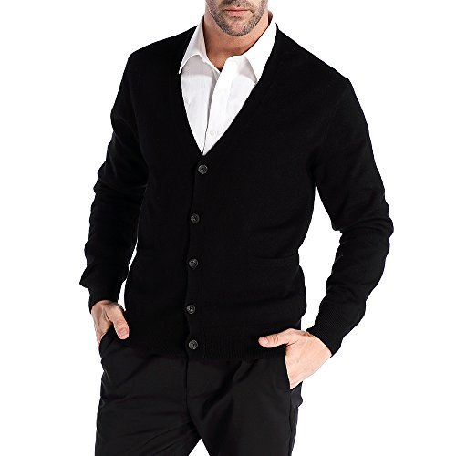 CHAUDER Men's Relax Fit V-Neck Cardigan Cashmere Wool Blend Button Down with Pockets by kallspin