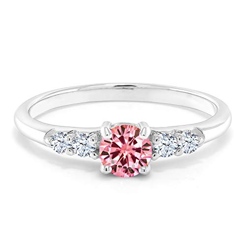 Gem Stone King 925 Sterling Silver Pink Created Moissanite and Created White Sapphire Women Engagement Ring (0.67 Cttw, Available in size 5, 6, 7, 8, 9)