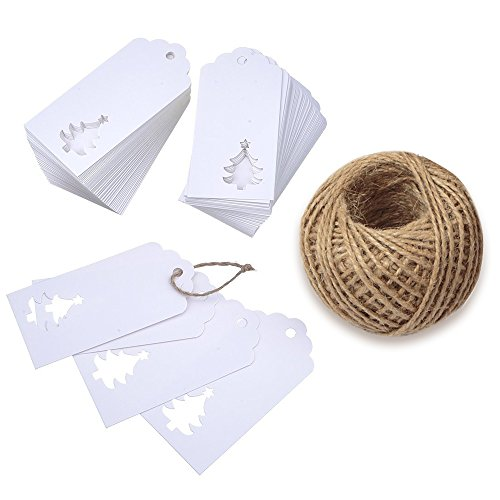 KINGLAKE 100 PCS Kraft Paper Hollow Christmas Tree Gift Tags with String Blank Gift Tag Vintage Wedding Craft Hang Tags with 100 Feet Jute Twine (White)