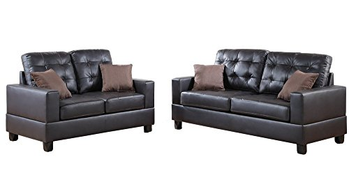 Poundex F7857 Bobkona Aria Faux Leather 2 Piece Sofa and Loveseat Set, Espresso (Set Poundex Loveseat)