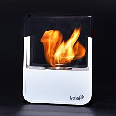 Fireplaces NEW Ivation Ventless Small Tabletop White Stainless Steel Portable Bio E