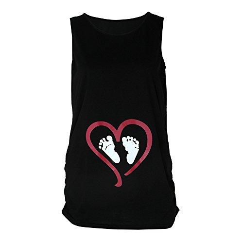 - LEXUPA Womens Sleeveless Blouse Footprint Print for Maternity T-Shirt Black