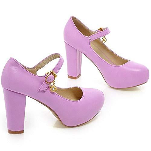 TAOFFEN Heel Shoes Mary Block Court Purple Women Jane 4Pwqrnx47
