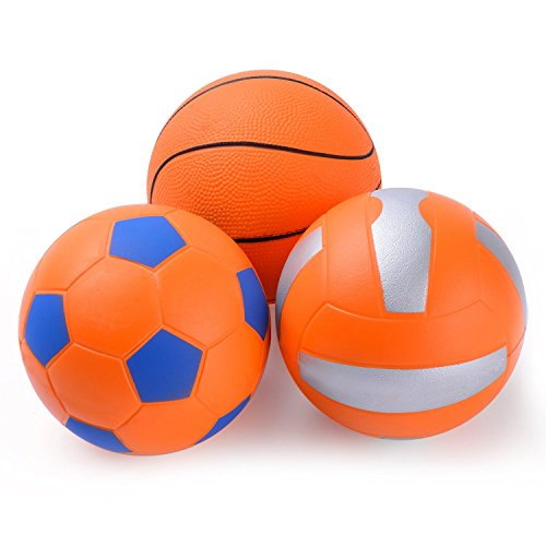 Chastep Mini Ball Set Pack of 3-Include 4 Inch Foam Volleyball,Classic Basketball and Soccer