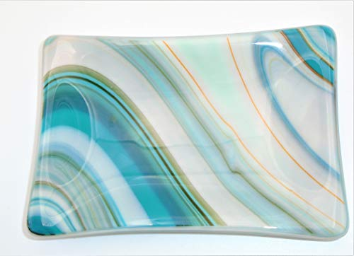 Decorative Blue White Orange Green Gray Soap Catchall Trinket Dish Handcrafted Fused Glass