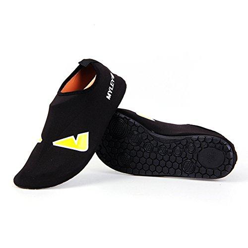 Uomo Donna Pull-on Quick-dry Pelle Sport Acquatici Aqua Scarpe Calze Outdoor Sneaker Holey Ventilazione Kpu Suola 2 Nero