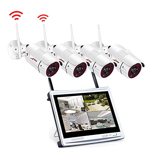 ANRAN Wireless Security Camera System with Monitor, 960p Video Surveillance System WiFi NVR Kit with 4PCS 1.3MP WiFi Outdoor IP Network Cameras, Auto Pair, Free APP Remote, Email Alarm, No Hard Drive For Sale