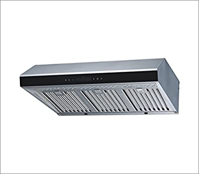 "Winflo 30"" Under Cabinet Stainless Steel Ducted Kitchen Range Hood 500 CFM Air Flow LED Display Touch Control Included Dishwasher-Safe Stainless Steel Baffle Filters and LED Lights"