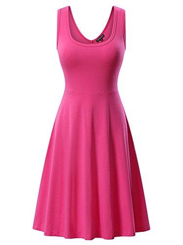 FENSACE Womens Sleeveless Summer Beach Hot Pink Dress, Rose, X-Large