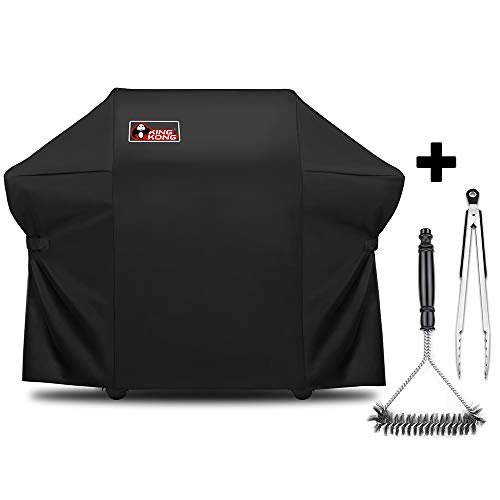 Summit 400 Series - Kingkong 7108 Heavy Duty Grill Cover for Weber Summit 400-Series Gas Grills (Summit S-420, Summit S-470), 66.8L x 26.8W x 47H inches, Including Grill Brush and Tongs