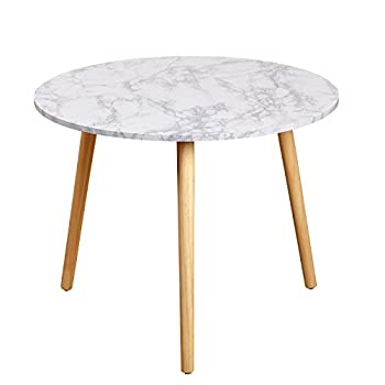 Target Marketing Systems Darcy Collection Mid Century Modern Laminated Faux Marble Top Side / End Table, White