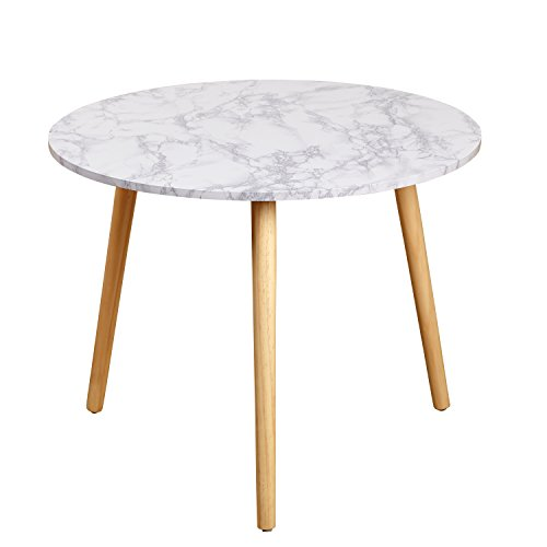 Target Marketing Systems Darcy Collection Mid Century Modern Laminated Faux Marble Top Side / End Table, White - Marble Top Single
