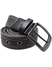 Men's Military Water-Washed Canvas Waist Web Belt Leather Tipped End and Silver Metal Buckle