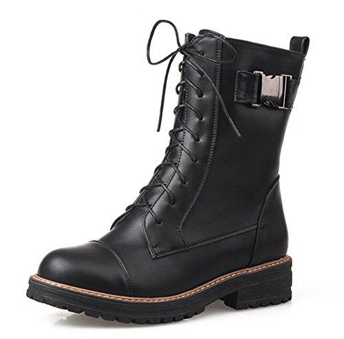 Aisun Womens Élégant Décontracté Bout Rond Lace Up Hauts Hauts Talons Cheville Martin Bottes Chaussures Noir