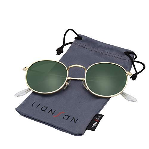 b144fa2f709 LianSan Classic Metal Frame Round Circle Mirrored Sunglasses Men Women  Glasses 3447 …