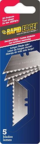 Curved Serrated Blade (Rapid Tools All-Purpose Rapid Edge Serrated Utility Knife Blades (5 blades) (1 Pack))