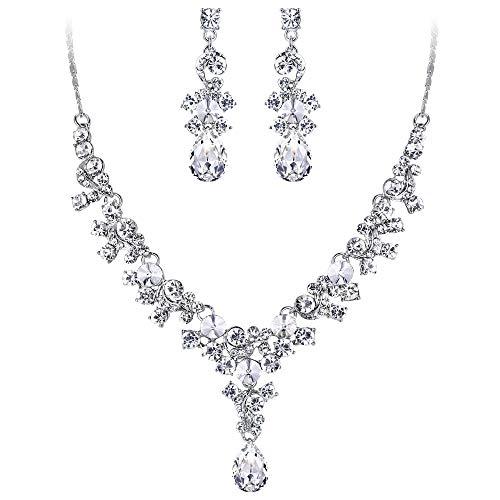 (EVER FAITH Rhinestone Crystal Wedding Floral Teardrop Necklace Earrings Set Clear Silver-Tone)