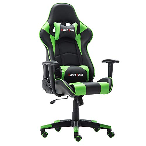Storm Racer Erogonomic Gaming Chair Large Size Racing Style Computer Home Office Chair (Green,S)