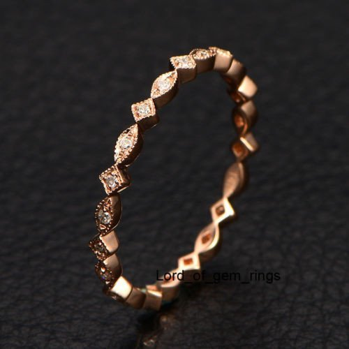 Pave Diamond Wedding Band Eternity Anniversary Ring 14K Rose Gold Art Deco by the Lord of Gem Rings