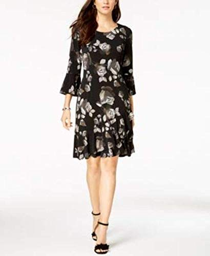 Connected $69 Womens New 1155 Black Floral Print Trapeze Dress 10 ()