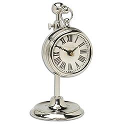 Cream White Silver Nickel Pocket Watch Desk Table Clock