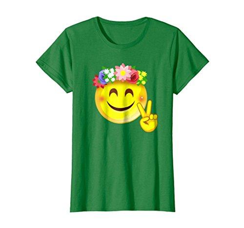 Female Sign Women T-shirt - Womens Hippie Flower Power Crown Smiley Peace Sign Emoji T-Shirt Medium Kelly Green