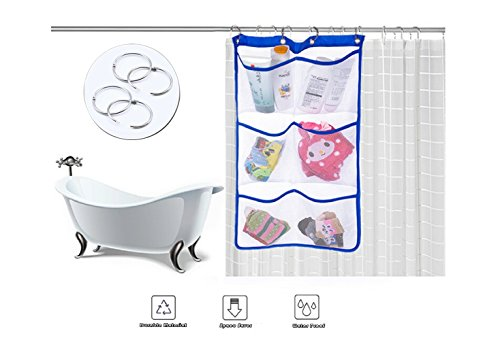 Chart Caddy Cart - Mesh Bath Organizer Quick Dry Hanging Bath Organizer with 6-pocket, Hang on Shower Curtain Rod/Liner Hooks, Shower Organizer, Mesh Shower Caddies, Bathroom Accessories, Great Space Saver (Blue)