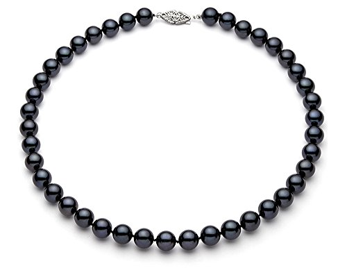 7-75mm-14k-White-Gold-Black-Akoya-Saltwater-Cultured-Pearl-Necklace-AA-Quality
