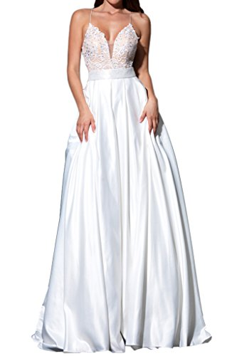Abendkleid Ballkleid Ivydressing Spaghetti Beliebt Promkleid Damen Weiß A Linie nnq0FYwR
