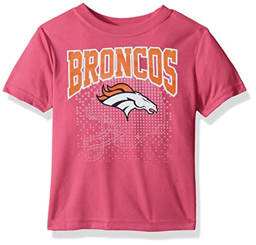 NFL Denver Broncos Girls Short-Sleeve Tee, Pink, 2T Denver Broncos Youth Short