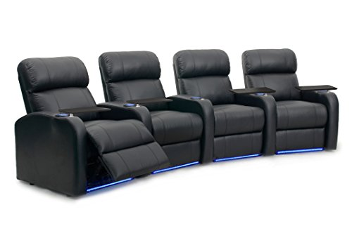 Diesel XS950 Home Theater Seats - Octane Seating - Black Top-Grain Leather - Memory Foam - Accessory Dock - Power Recline - Curved Row of 4 Chairs -  DIESEL-R4CP-LM-BL