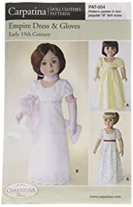 """Pattern for Empire Dress Paper - fits 18"""" American Girl Dolls"""
