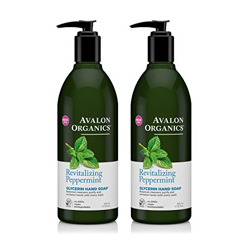 Avalon Organics Glycerin Hand Soap Peppermint With Organic Peppermint Essential Oil, Panthenol, Organic Aloe and Vitamin E, 12 fl oz (355 ml) (Pack of 2)