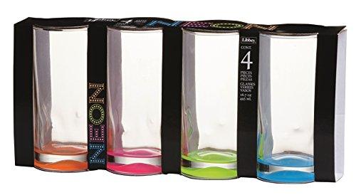 (Libbey 16.7 oz Neon Cooler Glass 4-Piece Set)