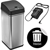 """iTouchless 13 Gallon Automatic Touchless Sensor Kitchen Can with AC Adapter and Odor Filter Deodorizer, 1 Waterproof Reusable """"Trash"""" Vinyl Sticker, Stainless Steel"""