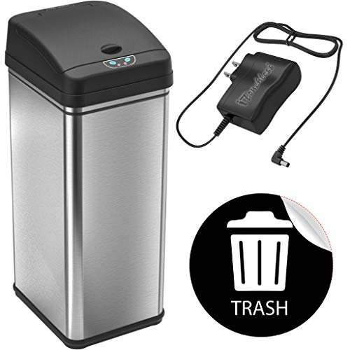 iTouchless 13 Gallon Automatic Touchless Sensor Kitchen Can with AC Adapter and Odor Filter Deodorizer, 1 Waterproof Reusable TRASH Vinyl Sticker, Stainless Steel