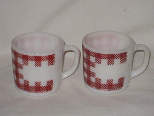 - Set of 2 - Vintage Westfield Milk Glass Red Checker 3x3 Inch Mug Cup