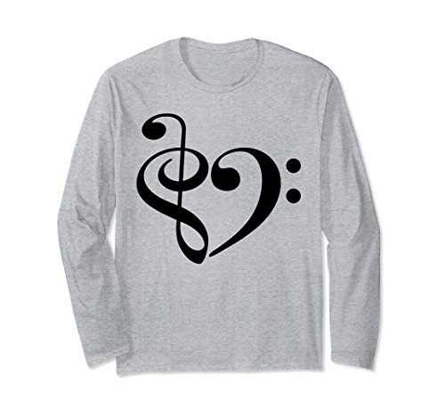 Treble Clef and Bass Clef Heart Music Lover Long Sleeve T-Shirt