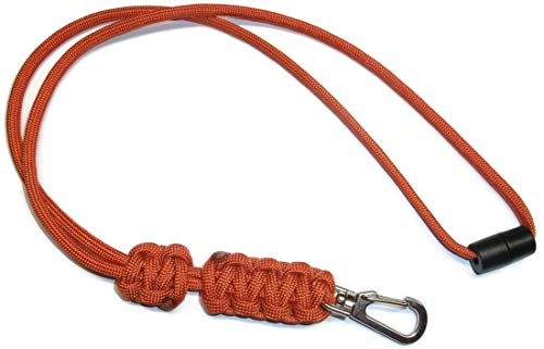 (RedVex Paracord Cobra Neck Lanyard with Safety Break-Away and Adjuster - Metal Clip - Choose Your Color and Size-Burnt)