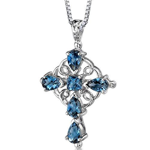 Blue Topaz Garnet Cross - London Blue Topaz Cross Pendant Necklace Sterling Silver Rhodium Nickel Finish 2.50 Carats