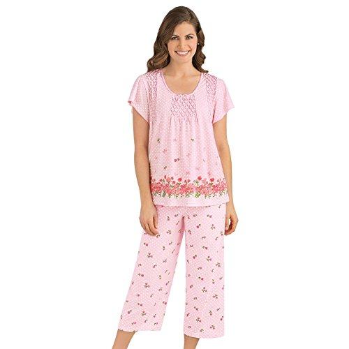 (Women's Border Floral Print Pajama Set, Pink, X-Large)