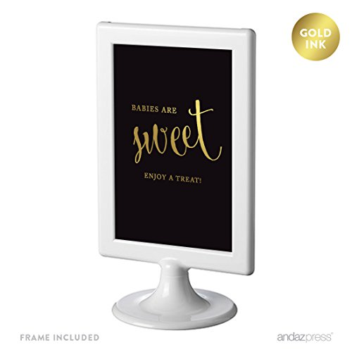 Andaz Press Baby Shower Framed Party Signs, Black and Metallic Gold Ink, 4x6-inch, Babies Are Sweet, Enjoy a Treat Sign, Double-Sided, 1-Pack, Includes Frame, Dessert Table Candy Buffet
