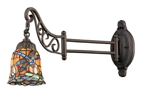 Tiffany Bronze Swing - Elk 079-Tb-12 Dragonfly Mix-N-Match 1-Light Swing Arm Sconce, 12-Inch, Tiffany Bronze
