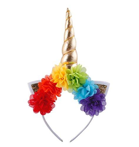 Daisyu Unicorn Horn Ears Flower Headband Unicorn Horn Headband Perfect For Party Or Cosplay (Rainbow)
