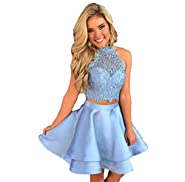 Satin Lace Halter Short Prom Dress Two Pieces Homecoming Dresses